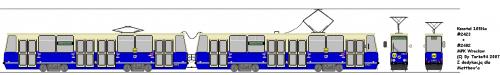 Konstal 105Na #2423 + #2402. Modernizacja wykonana przez Protram, polegająca na wymienieniu kilku rzeczy (np. elementów wnętrza) i dodaniu wyświetlaczy.